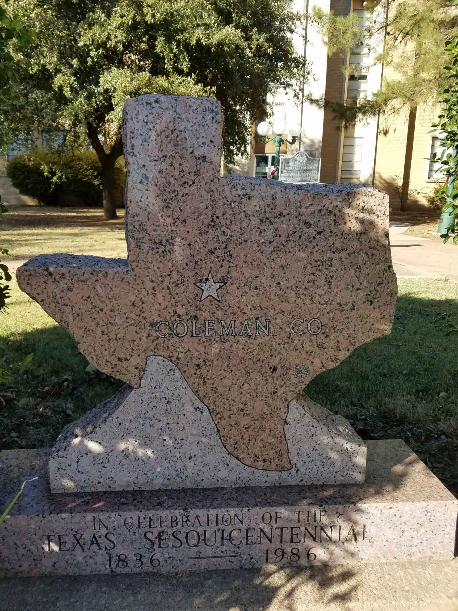 Texas Sesquicentennial Memorial on courthouse grounds near the Cattle Drive Cafe in Coleman, TX